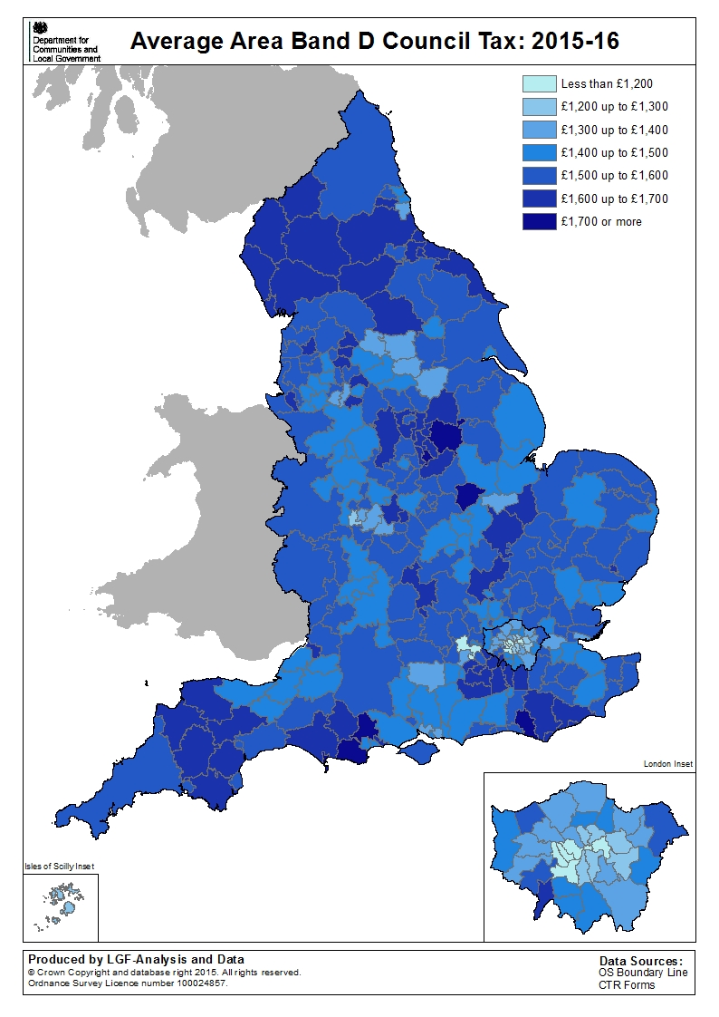 Map Of England 2016.Council Tax Levels Set By Local Authorities In England 2015 To 2016