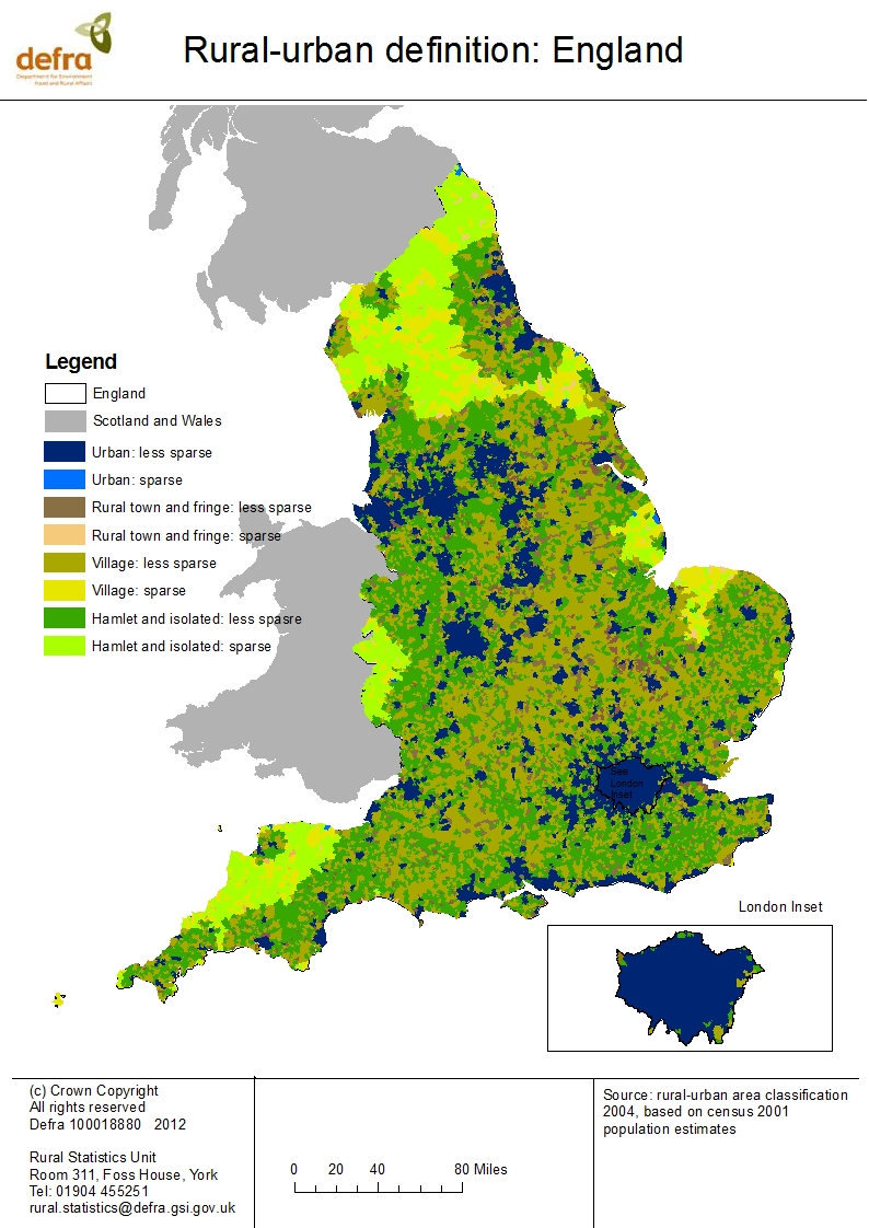 Maps of rural areas in England (Census 2001) - GOV.UK Definition Of A Legend On Map on