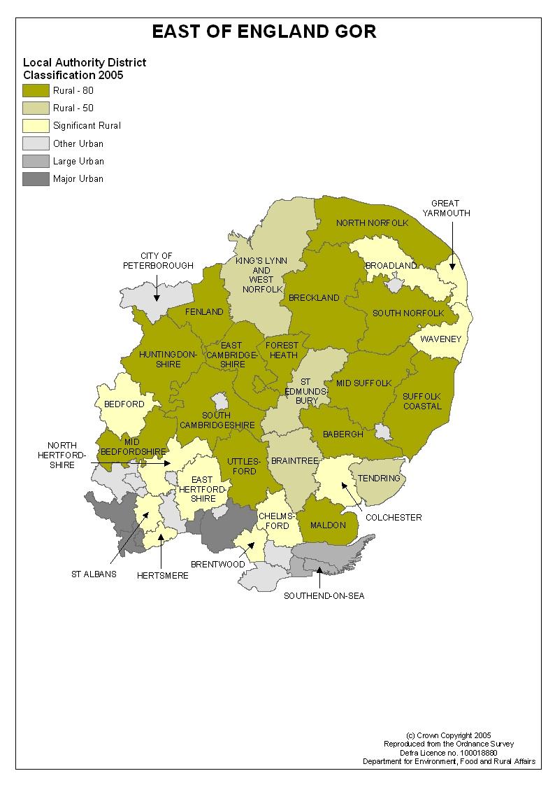 Regional maps of rural areas Census 2001  Region east  GOVUK