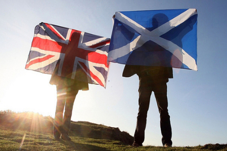 Great Britain and Scottish flags