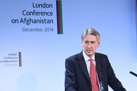 UK Foreign Secretary Philip Hammond gives a welcome speech at the London Conference on Afghanistan. Picture: Patrick Tsui/FCO