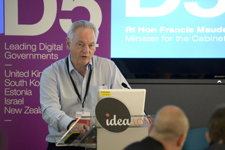 Francis Maude speaking at the D5 summit.
