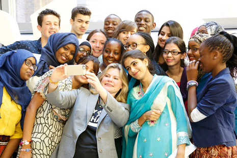 International Development Secretary Justine Greening with Youth For Change panel
