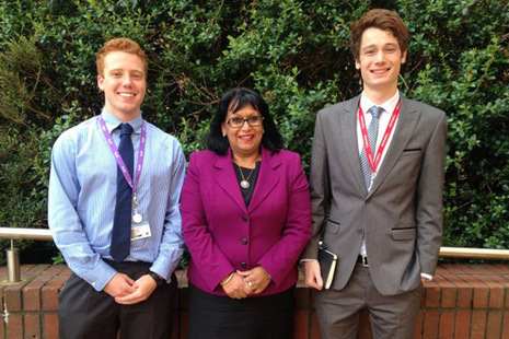 Baroness Verma meets Peter and Tom from the Leonard Cheshire's Change 100 internship programme. Credit: Jessica Seldon/DFID
