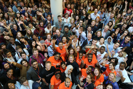 International Development Secretary Justine Greening gathers with hundreds of young people at the Youth Summit. Picture: Jessica Lea/DFID