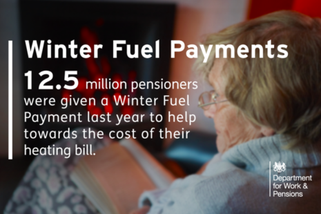 Millions of pensioners protected with Winter Fuel Payments