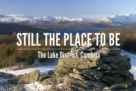 "Lake district image with caption ""Cumbria - still the place to be"""