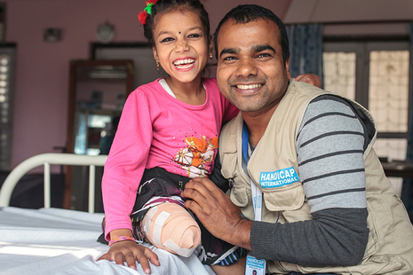 8-year-old Nirmala lost a leg in the earthquake which hit Nepal on 25 April 2015, but is being helped to recover by Handicap International with support from UK aid. Picture: Lucas Veuve/Handicap International