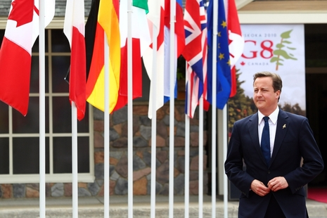 David Cameron, Prime Minister of the United Kingdom, which is currently the president of the G-8