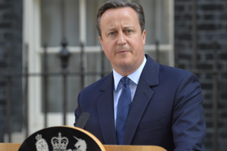 Prime Minister David Cameron giving his statement on Downing Street