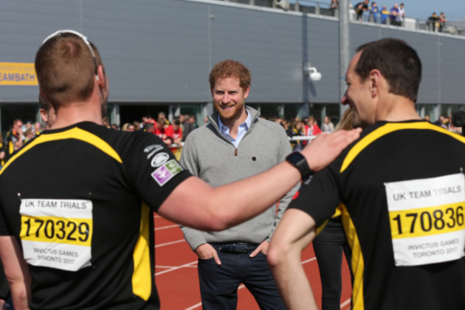 HRH Prince Harry meeting UK Team Hopefuls at the Invictus Games Team Trials 2017