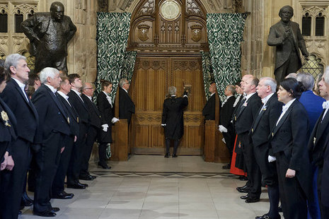 Image of Black Rod knocking at the door of the House of Commons