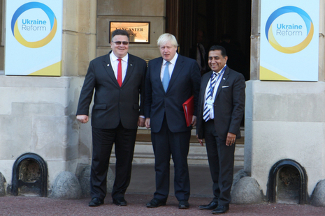 Foreign Secretary Boris Johnson and Lord Ahmad arriving at the Ukraine Reform Conference