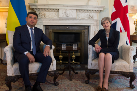 Prime Minister Theresa May and Ukrainian Prime Minister Volodymyr Groysman