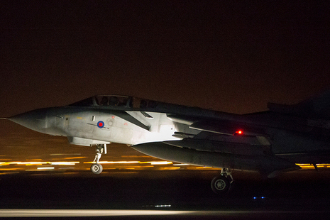 An RAF Tornado comes into land at RAF Akrotiri after concluding its mission.
