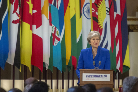 Prime Minister Theresa May speaking at the opening of the Commonwealth Heads of Government Meeting