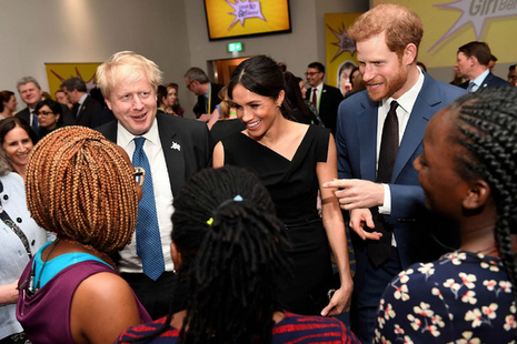Prince Harry, Ms Meghan Markle and the Foreign Secretary at the Commonwealth Heads of Government Meeting reception about girls' education