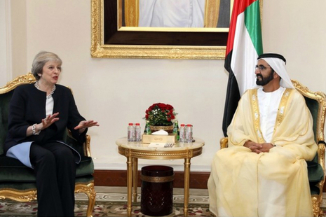 Image of UK Prime Minister Theresa May with His Highness Sheikh Mohammed bin Rashid Al Maktoum, Vice President and Prime Minister and Ruler of Dubai. Photo credit: WAM