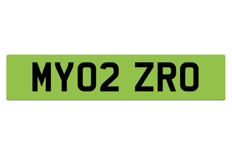 A mock-up of a green licence plate.