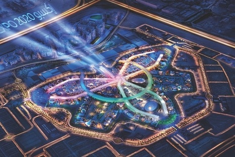 Computer generated aerial picture of Dubai 2020 Expo Pavilion.