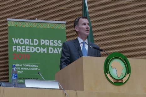 Foreign Secretary Jeremy Hunt speaking at the UNESCO World Press Freedom Day event in Ethiopia
