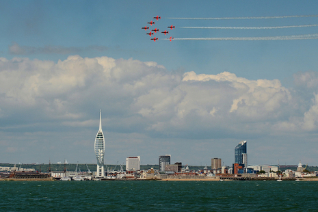 The Red Arrows fly over Spinnaker Tower in Portsmouth.
