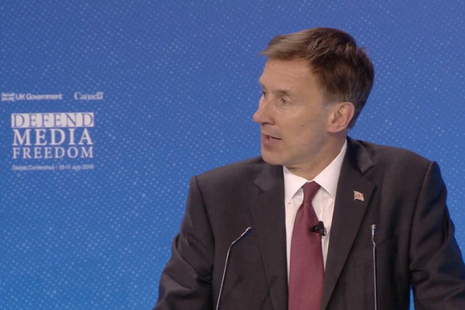 Foreign Secretary Jeremy Hunt speaking at the Media Freedom conference