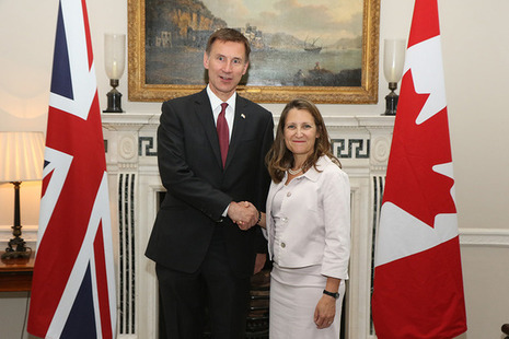 Jeremy Hunt and Chrystia Freeland