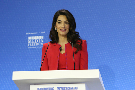 Amal Clooney at the Media Freedom conference