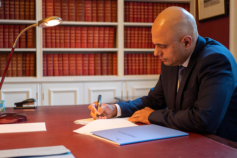 Chancellor Sajid Javid preparing to deliver the Spending Round 2019