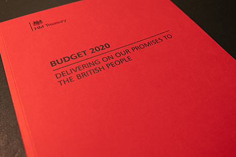 Cover of Budget 2020 document.