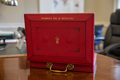 Open Budget red box on a desk.