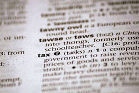 Picture of the word tax in the dictionary