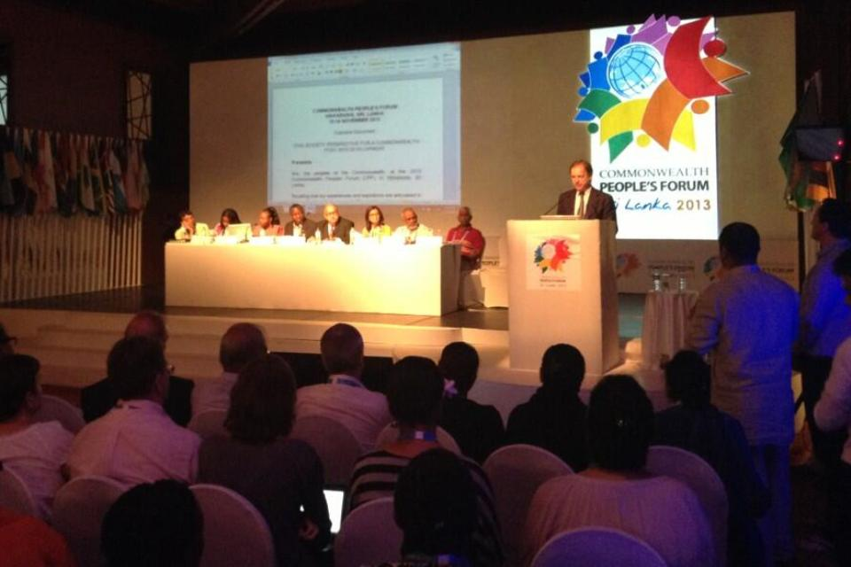 FCO Minister Hugo Swire spoke at the closing session of the Commonwealth People's Forum