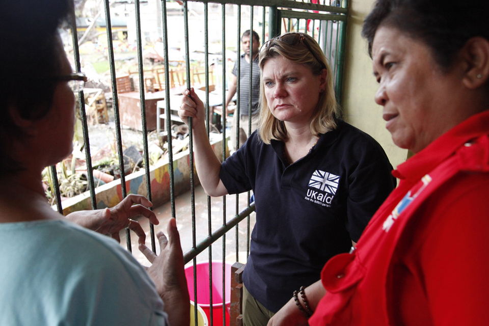 Photograph of Justine Greening in Tacloban. Picture: Russell Watkins/DFID