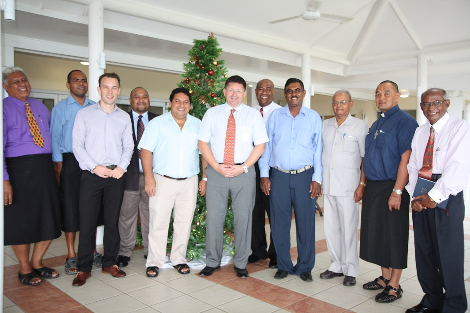 His Excellency Roderick Drummond (6th from left) with Bert Tolhurst, Political Officer at the British High Commission (3rd from left) and representatives from various religious groups in Fiji.