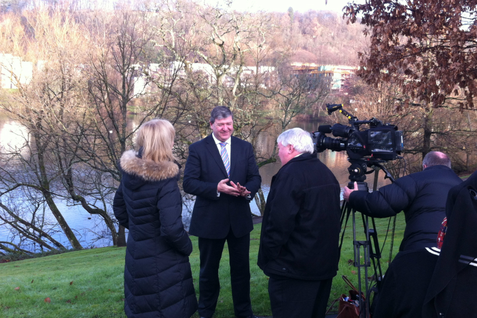 Alistair Carmichael with media