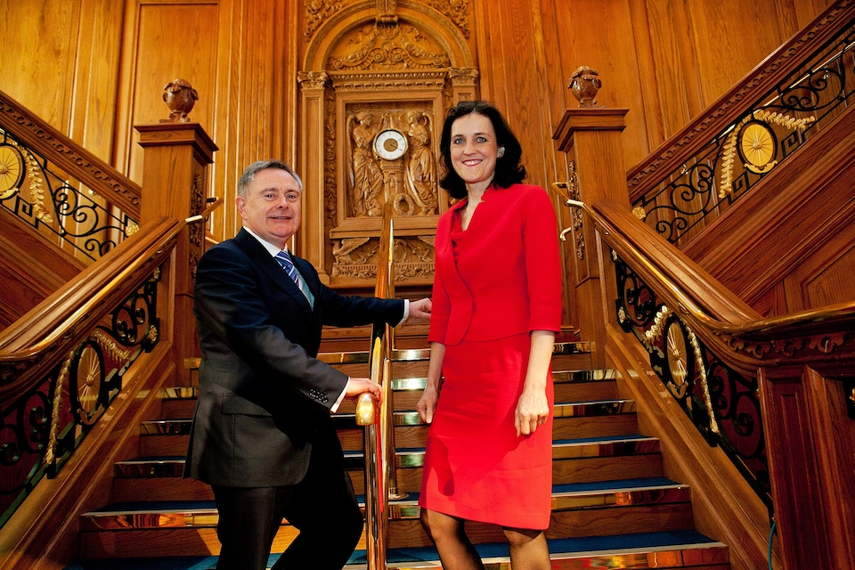 Theresa Villiers and Brendan Howlin at Titanic Belfast ahead of BICC conference