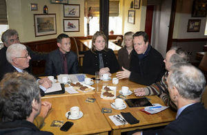 Prime Minister David Cameron visiting Gloucestershire to speak to those affected by the floods.