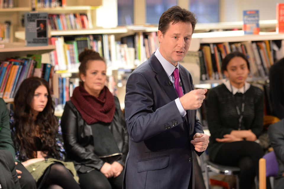 Deputy Prime Minister Nick Clegg with students at Bishop Challoner Catholic Collegiate School. Photo credit: Stefan Rousseau/PA Wire