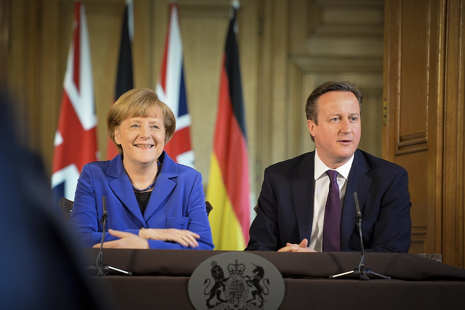 David Cameron and Angela Merkel hold a press conference
