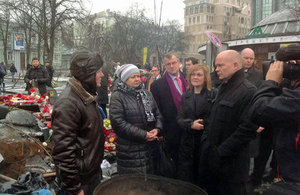 The Foreign Secretary William Hague visiting the Maidan, Ukraine