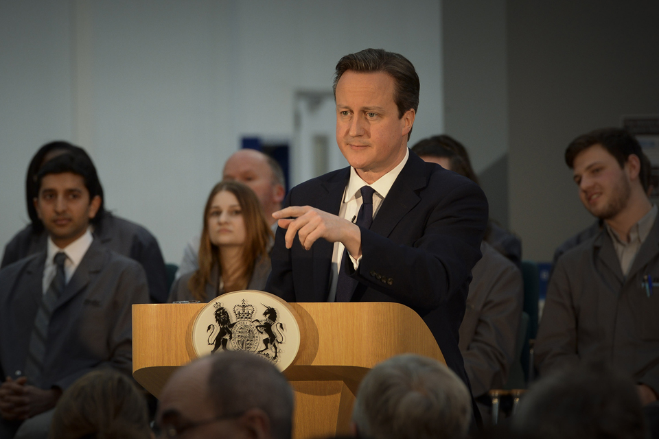 David Cameron delivers a speech