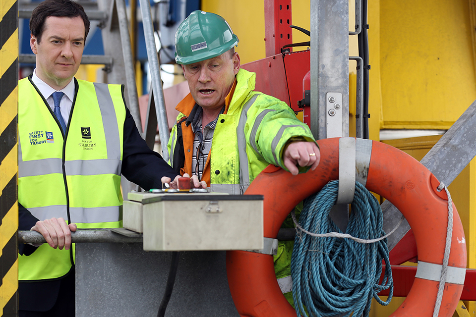 Chancellor on a visit to Tilbury docks