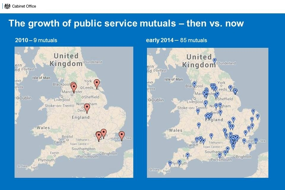 Map showing public sector mutuals in UK