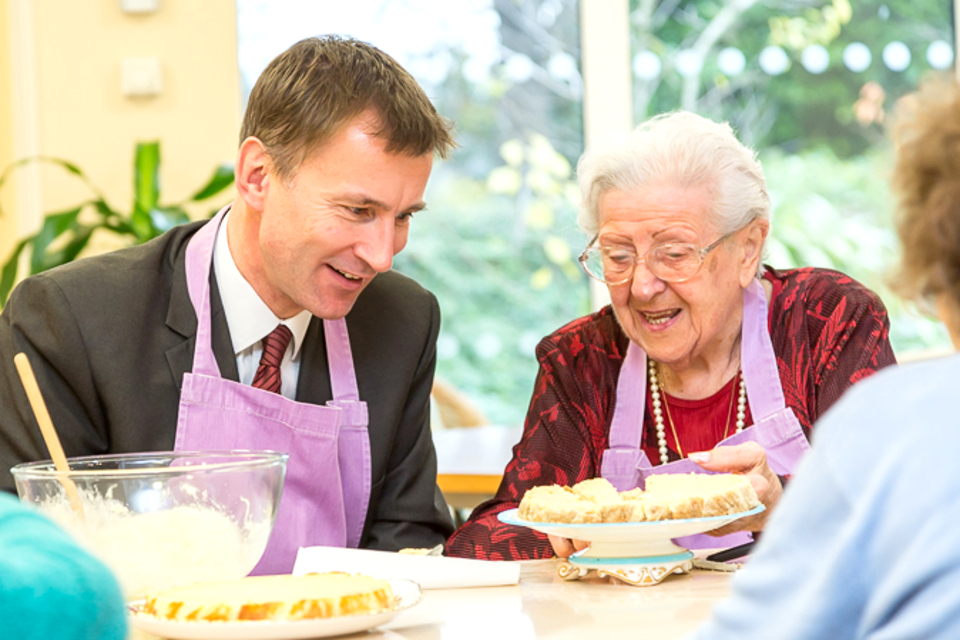 Jeremy Hunt with a person with dementia