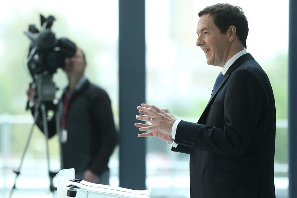 Chancellor of the Exchequer George Osborne giving a speech