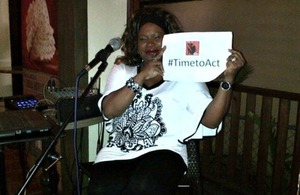 Derede Williams,  St Lucia's premier jazz singer supporting  the #Timetoact campaign