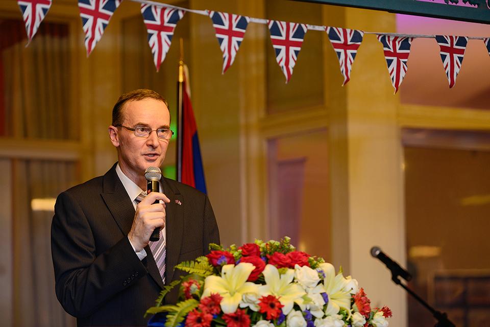 Ambassador Malone holding his speech