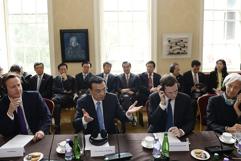 The Prime Minister, Chinese Premier Li Keqiang, Chancellor and IMF Managing Director Christine Lagarde
